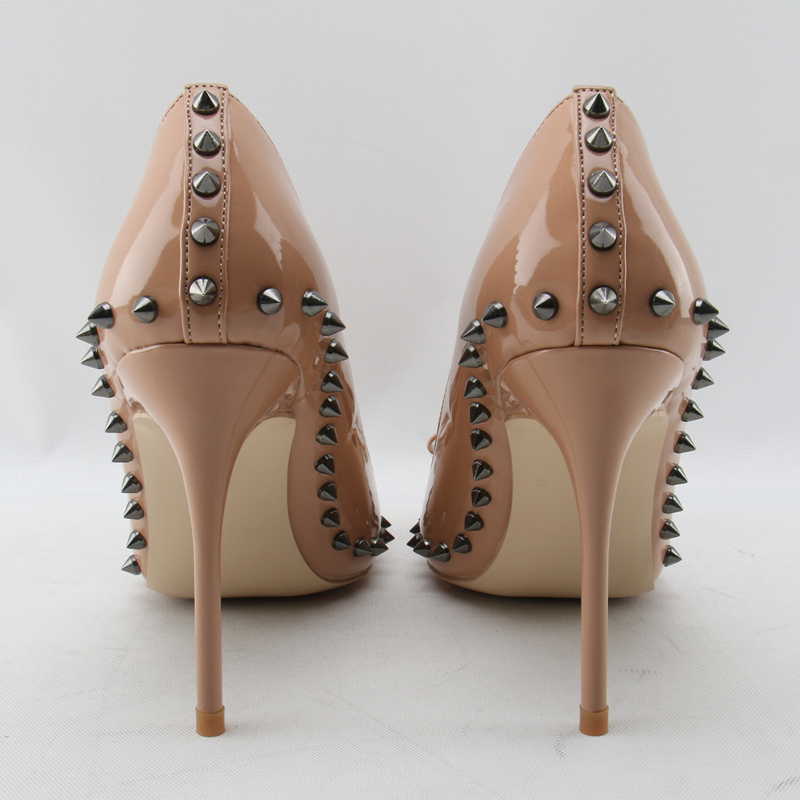 Eunice Choo Spring Women s High heeled Shoes Bowknot Rivets Bridal Leather Shoes  Women Pumps Slip on Thin High Heels Pumps Woman-in Women s Pumps from Shoes  ... 002b243da5be