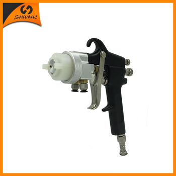 цена на SAT1182 Nano Chrome Plate Paint Gun Pneumatic Dual Nozzle Air Spray Gun High Pressure Feed Type Silver Mirror Chrome Paint Gun