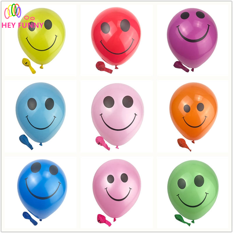 HEY FUNNY 100 pcs/pack 12 inch Smile Latex Balloons Round Toy ball For Children Gift Colorful Pearl Latex Emoji Balloons