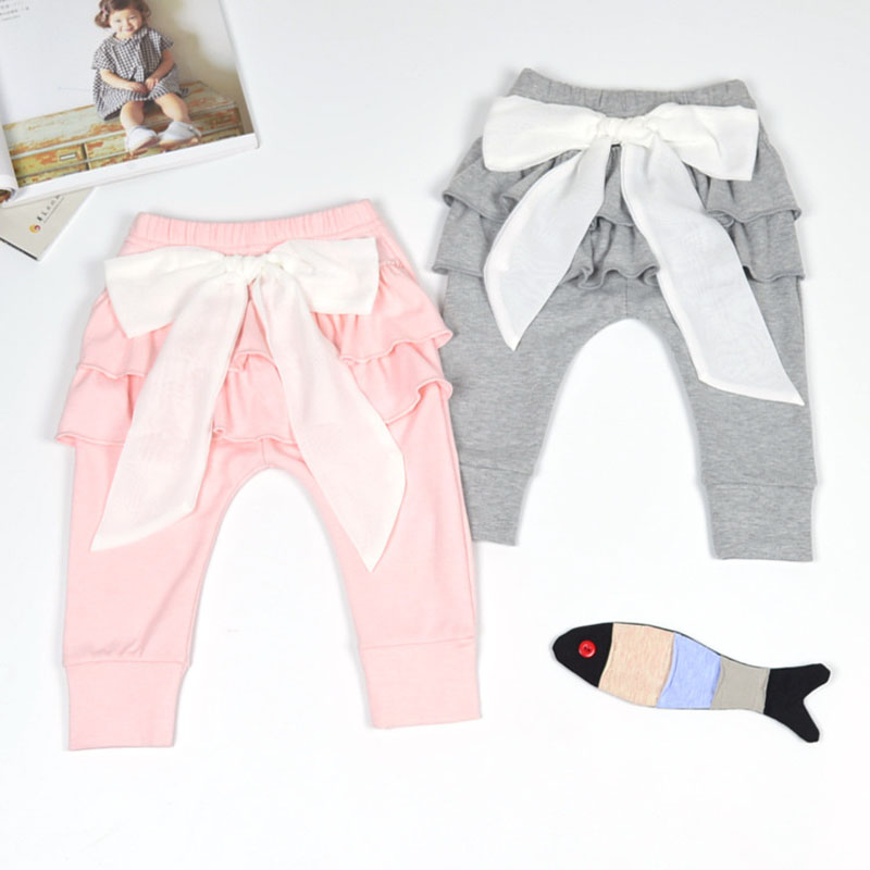 Baby girls pants Baby Leggings White Chiffon big bow Newborn pants 0-2 years Spring Autumn Baby clothing Gray & Pink Trousers недорго, оригинальная цена