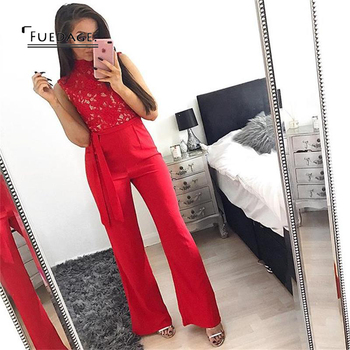 Fudeage Fashion Lace Stitching Jumpsuit 2017 New Red Sexy Long Sleeveless Women Overalls Elegant Party Boysuits Jumpsuit