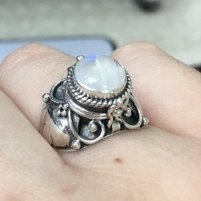 charming silvers Retro Vintage 925 Silver white Moonstone opal Rings Finger Female luck Jewelry shipping free more style