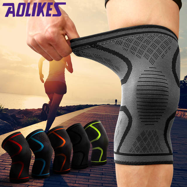 a87b3ef341 AOLIKES 2 Pcs Fitness Basketball Running Cycling Knee Pad For Men Women  Sport Knee Protector Compression