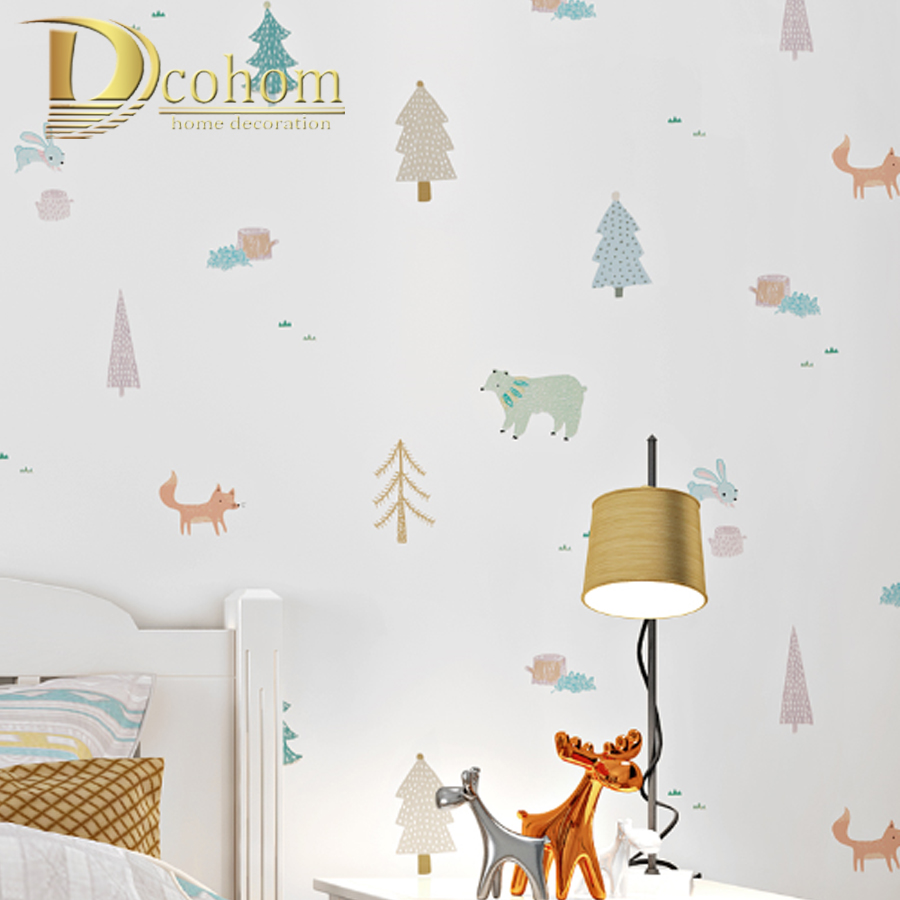 White Cartoon Tree animal Kids Boy Bedroom Wallpaper Roll For Kids Room PVC&Vinyl Children Wall Paper Baby Room Wall Covering