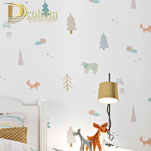 White Cartoon Tree animal Kids Boy Bedroom Wallpaper Roll For Kids Room PVC&Vinyl Children Wall Paper Baby Room Wall Covering(China)