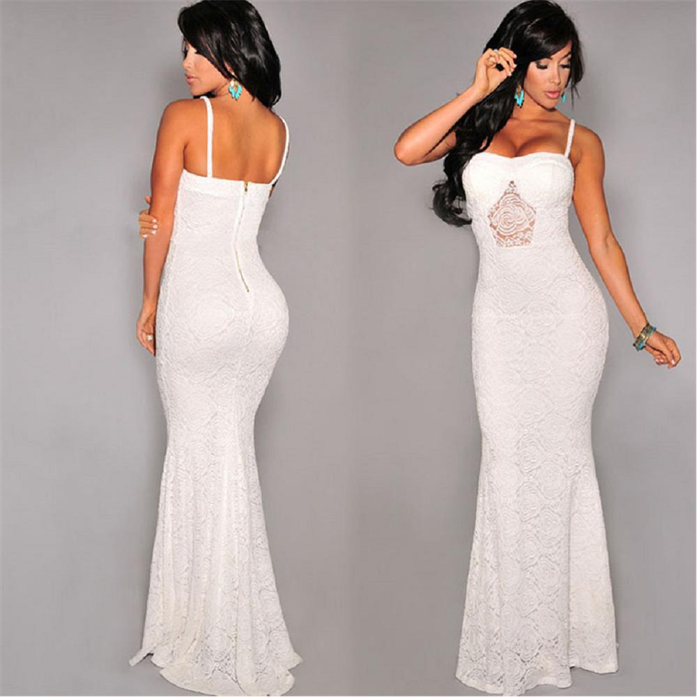4bc1ec41c 2015 Summer style Sexy White Spaghetti Strap Evening Bodycon Dress Lady  Chiffon Mermaid Party Clubwear Long Lace Maxi Dresses