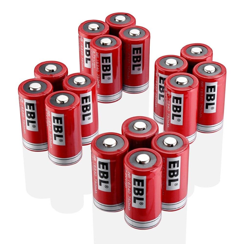 16 pièces EBL RCR123A 16340 batterie 750 mAh Lithium-ion Batteries rechargeables pour lampe de poche caméra
