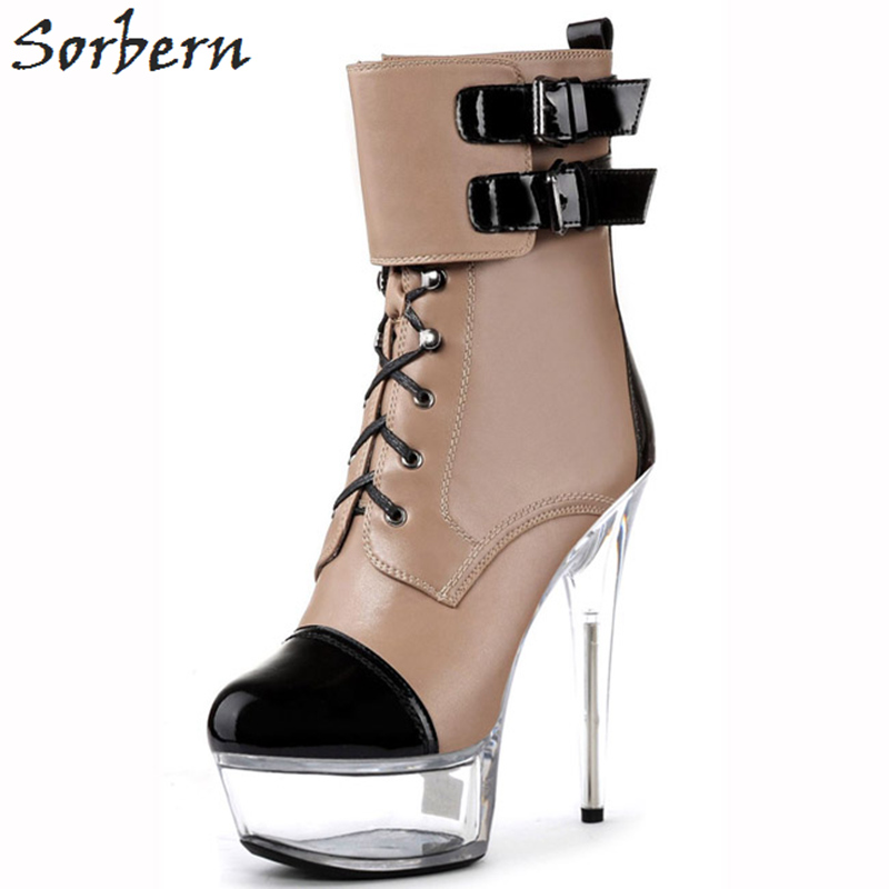Sorbern 15/17cm Women Boots Lace Up Buckle Strap High Spike Heels Ladies Party Boots Fashion Ankle Boots For Womens high quality womens fashion high heel lace up ankle boots ladies buckle platform shoes