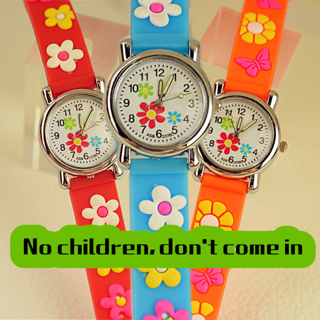 Three small flowers Casual Child Watch Children Silicone Girls students Clock Ba