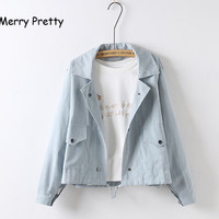 Merry Pretty Spring Autumn New Women Jacket Loose Pocket Casual Cropped Tops Solid Jacket Coat Fashion
