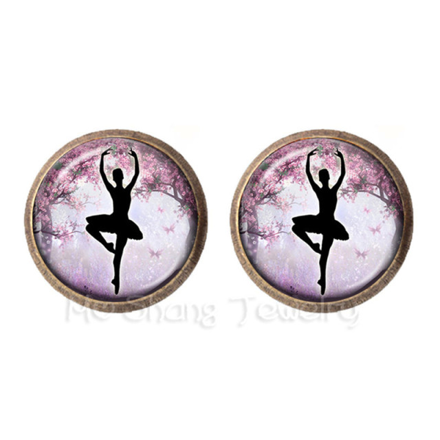 2018 Ballerina Silhouette 12 Mm Gl Stud Earrings Ballet Dancer Art Photo Jewelry