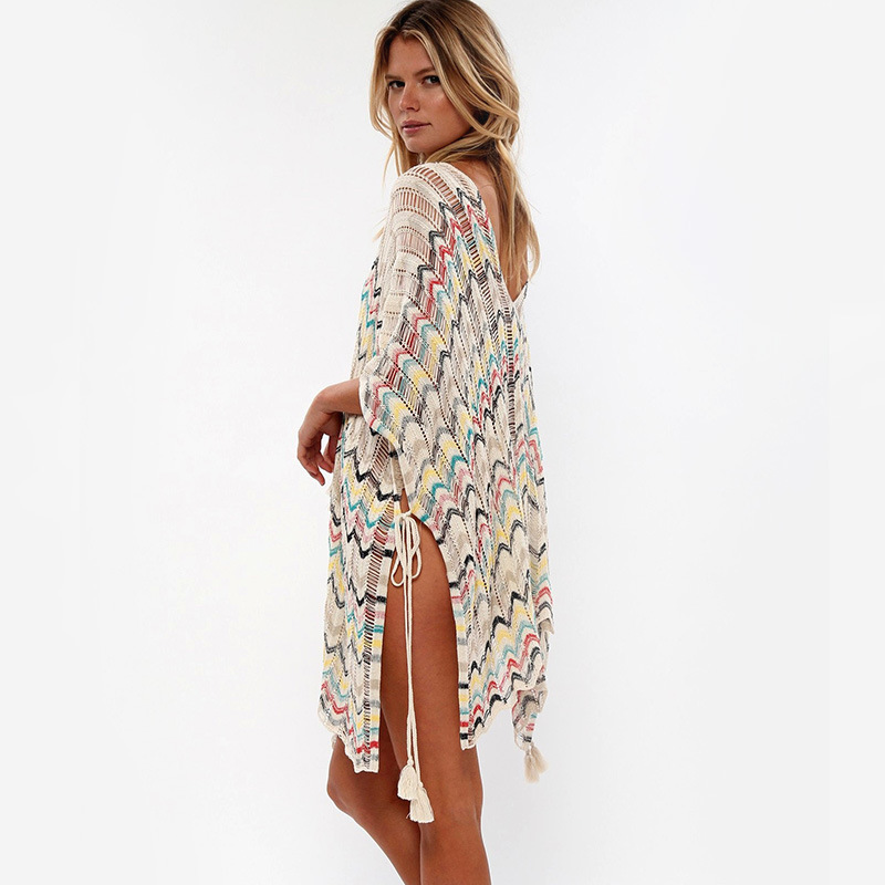 Melflow Lace Hollow Crochet Sexy Beach Sundress Summer Swimsuit Cover Ups Women Beachwear Tunic Shirt Robe Longue Femme in Dresses from Women 39 s Clothing