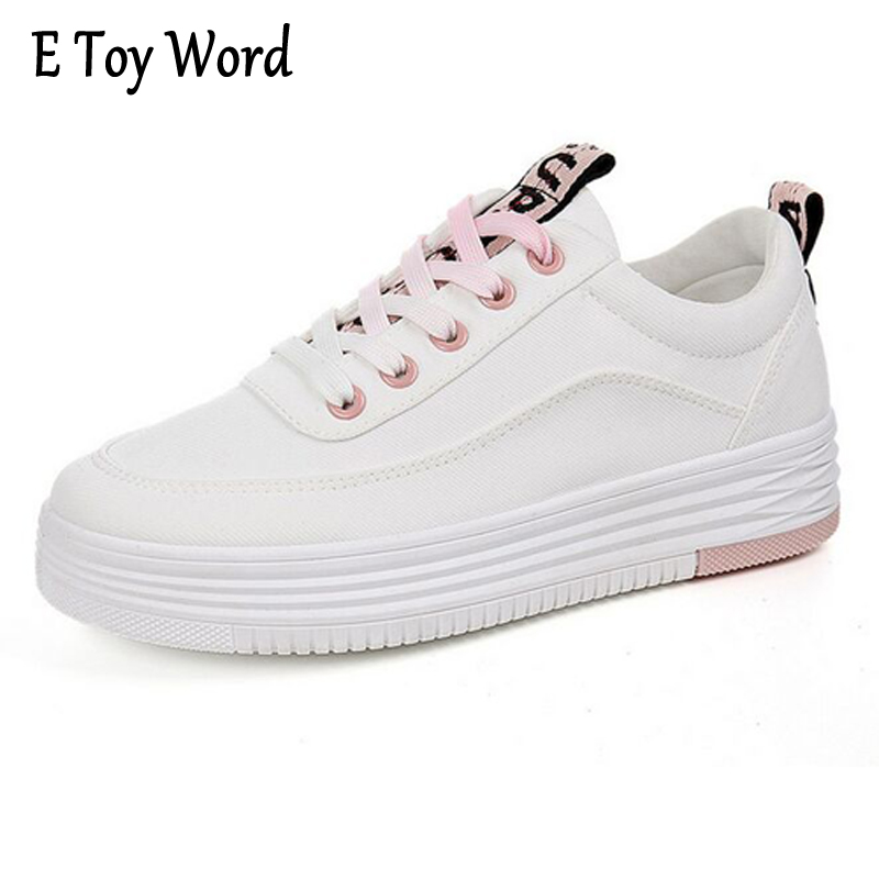 E TOY WORD Autumn New Style Ladies Increase Thick Bottom Canvas Shoes Korean small White Shoes Students Casual Shoes e toy word canvas shoes women han edition 2017 spring cowboy increased thick soles casual shoes female side zip jeans blue 35 40