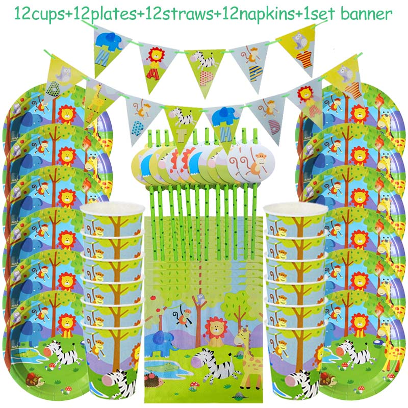 Meidding Safari Jungle Party Disposable Tableware Supplies Boy Kids Favors Birthday Party Baby Shower Jungle Animal Decoration in Disposable Party Tableware from Home Garden
