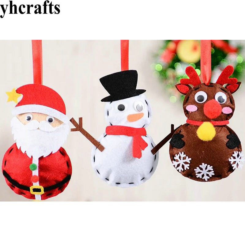1PC/LOT. DIY Unfinished Fabric Santa Snowman Elk Hanger Craft Kits Kindergarten Crafts Early Learning Educational Toys Wholesale