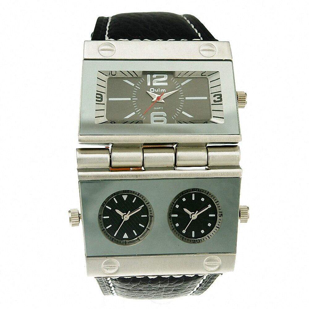 OULM Men's Three-time Display Quartz Wristwatch Luxury Special Design Business Formal Men Watch Rectangle Case Present +GIFT BOX time2u mens formal business ultrathin quartz watch wristwatch with classic design