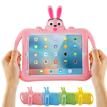 Cute Rabbit Cover Case for 2017 New iPad 9.7 Soft Shockproof EVA Silicone Stand Model A1822 Coque Kid