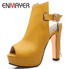 ENMAYER Gladiator Summer Pumps Shoes Woman High Heels Plus Size 34-47 Black Yellow White Peep Toe Platform Womens