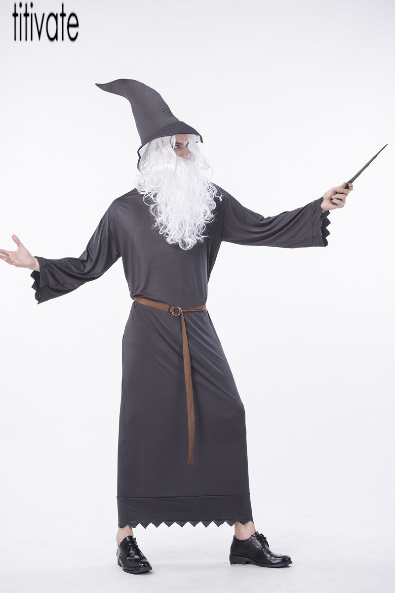 TITIVATE Christmas Santa Claus Father Christmas Costume Maxi Black Cosplay Robe Party Carnival Outfit Uniform M L XL For Men