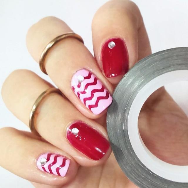 6 Rolls Chevron Nail Art Striping Tape Sticker Set Colorful Nail Art