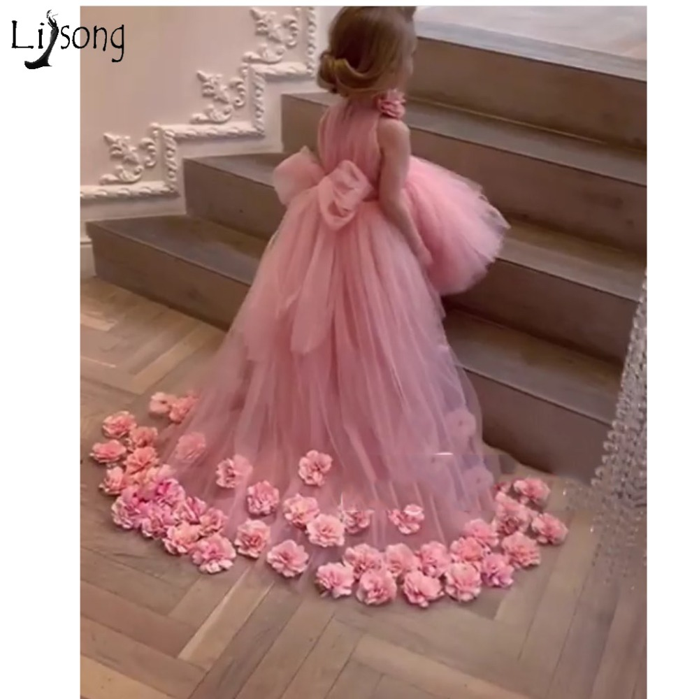 Pretty 3D Flower Tutu High Low Girls Pageant Dresses High Collar Puffy Tulle Flower Girl Dresses 2019 Communion Dresses Pretty