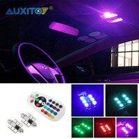 AUXITO 2x For Audi A6 C5 1998-2004 Car LED Interior Lights Festoon Dome Light Bulbs RGB Multicolor Remote Control
