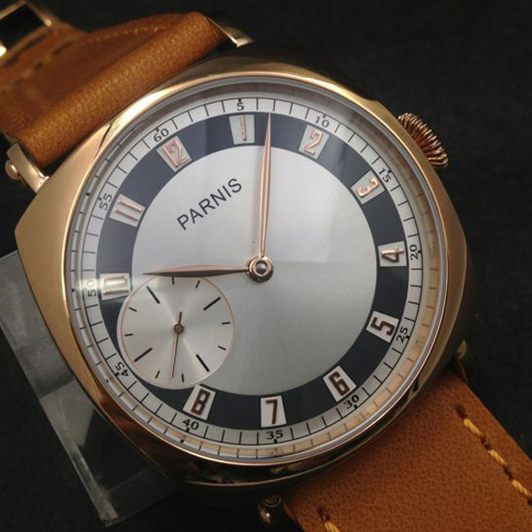Hot Sell 44mm Parnis SeaGull 3600 Hand Winding Movement White Dial Golden Numbers Wrist Watch