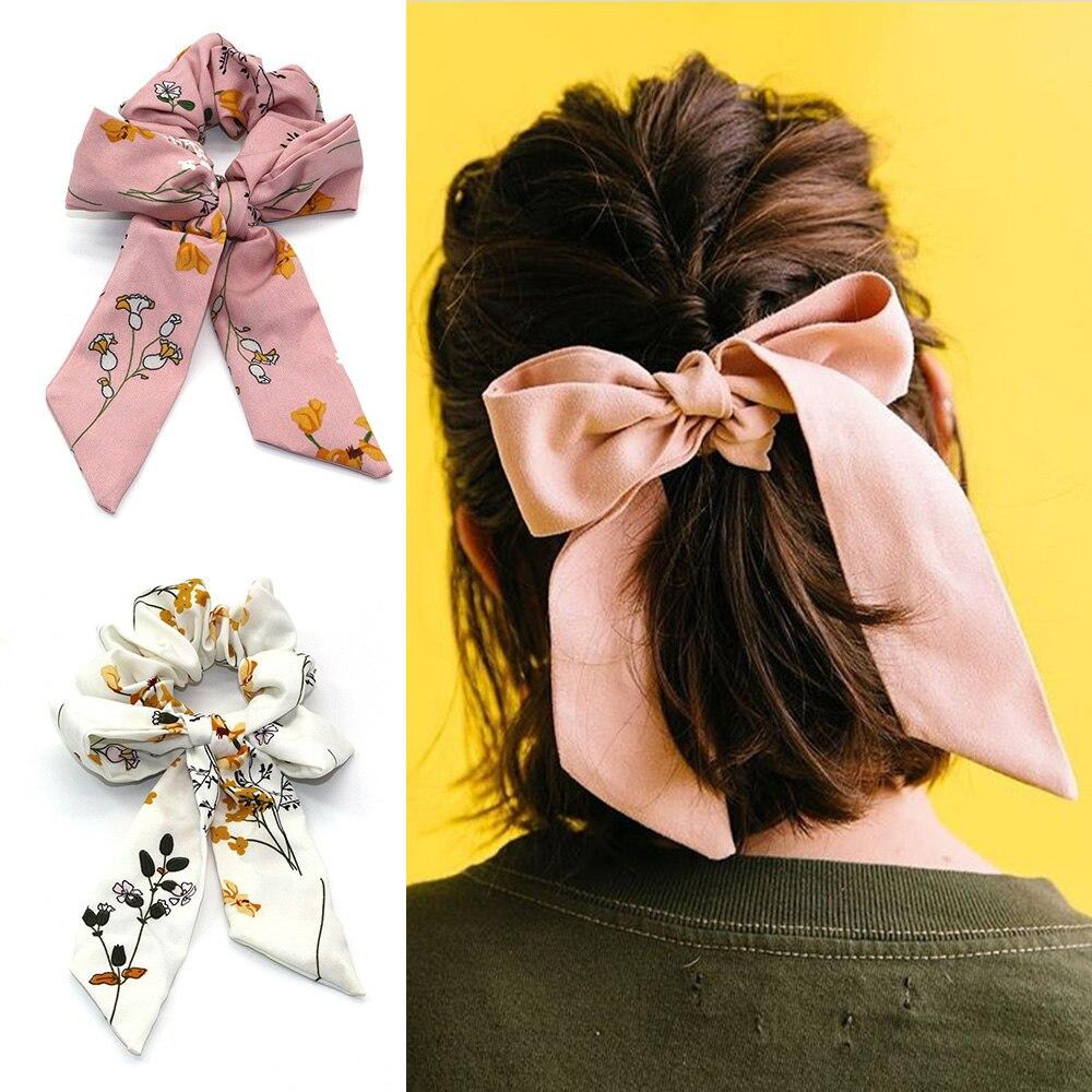 2019 Women Elastic Hair Bands DIY Bow Streamers Hair Scrunchies Ribbon Hair Rubber Ties Horsetail Headwear Hair Accessories
