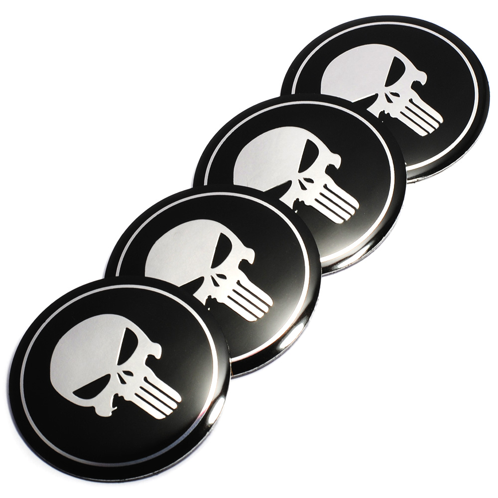 Cool 3D Skull Car Steering Tire Wheel Center Car Sticker Hub Cap Emblem Badge Decal Symbol for Opel Renault Mazda BMW AUDI Ford car chrome abs v6 emblem badge 3d decal trunk auto motor sticker car styling for bmw benz audi ford vw v6 car sticker