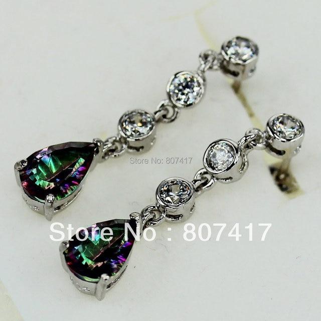 Shunxunze Best Berserk Rainbow Cubic Zirconia Earrings Silver Plated Earring Jewelry E714 First Cl Products