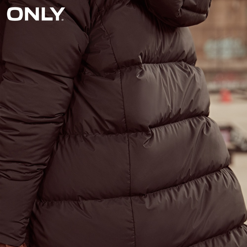 ONLY 2019 womens' winter new medium and long White duck down brown down jacket Partial sill design Hooded collar|118312555