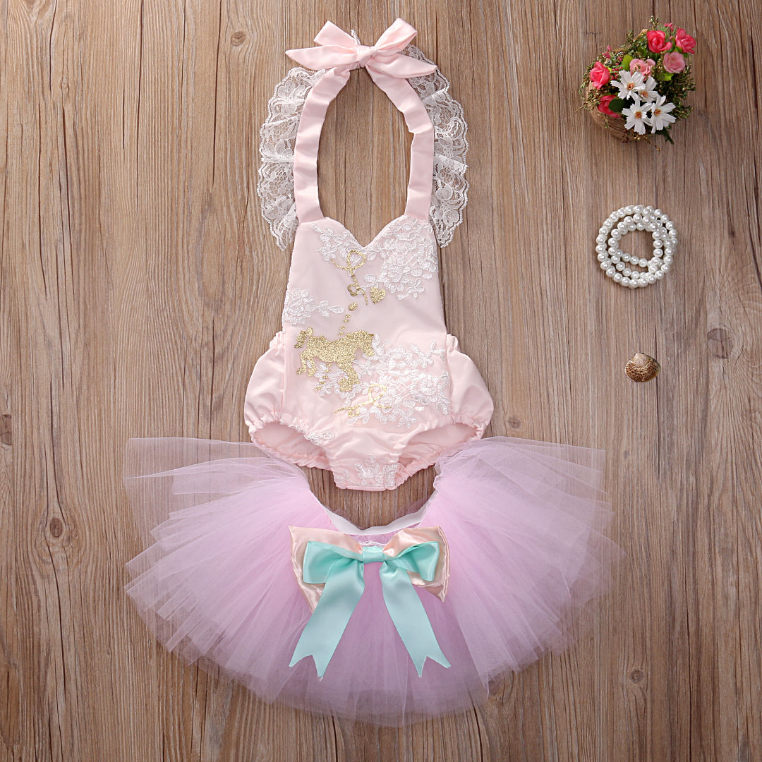 Fashion Infant Baby Girl Sequins Backless Bodysuit Jumpsuit Tulle Tutu Skirt Ball Gown Skirt Outfits Set Clothes ...