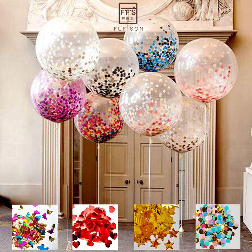 FFS размер 36 дюймов гигантский прозрачный шар со дня рождения партии Свадебные украшения многоцветный конфетти шар