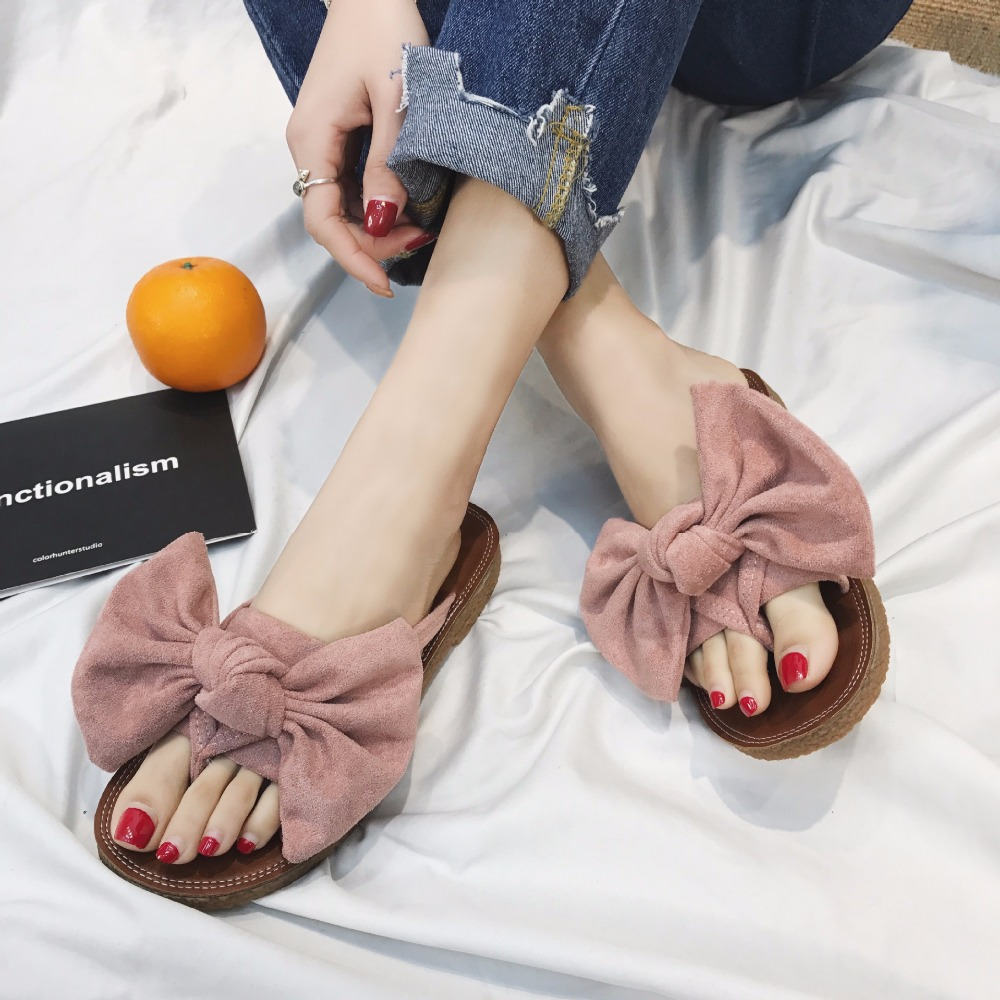 3c8cae1059ae Detail Feedback Questions about 2018 Designer Big Bow Slippers Women Shoes  Summer Bowknot Flip Flops Ladies Flats Beach Sandals Home Slides Chaussures  Femme ...