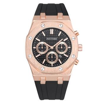 PINTIME Silicone Mens Watch Top Brand Luxury Quartz Clock Calendar Military Watch Men Sport Wristwatch Relogio Masculino Relojes