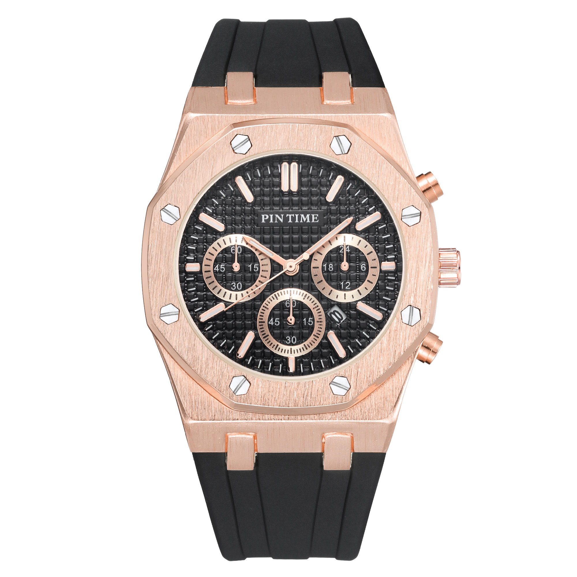 Pintime シリコーンメンズ腕時計トップブランドの高級クォーツ時計カレンダー軍事腕時計メンズスポーツ腕時計レロジオ masculino relojes -