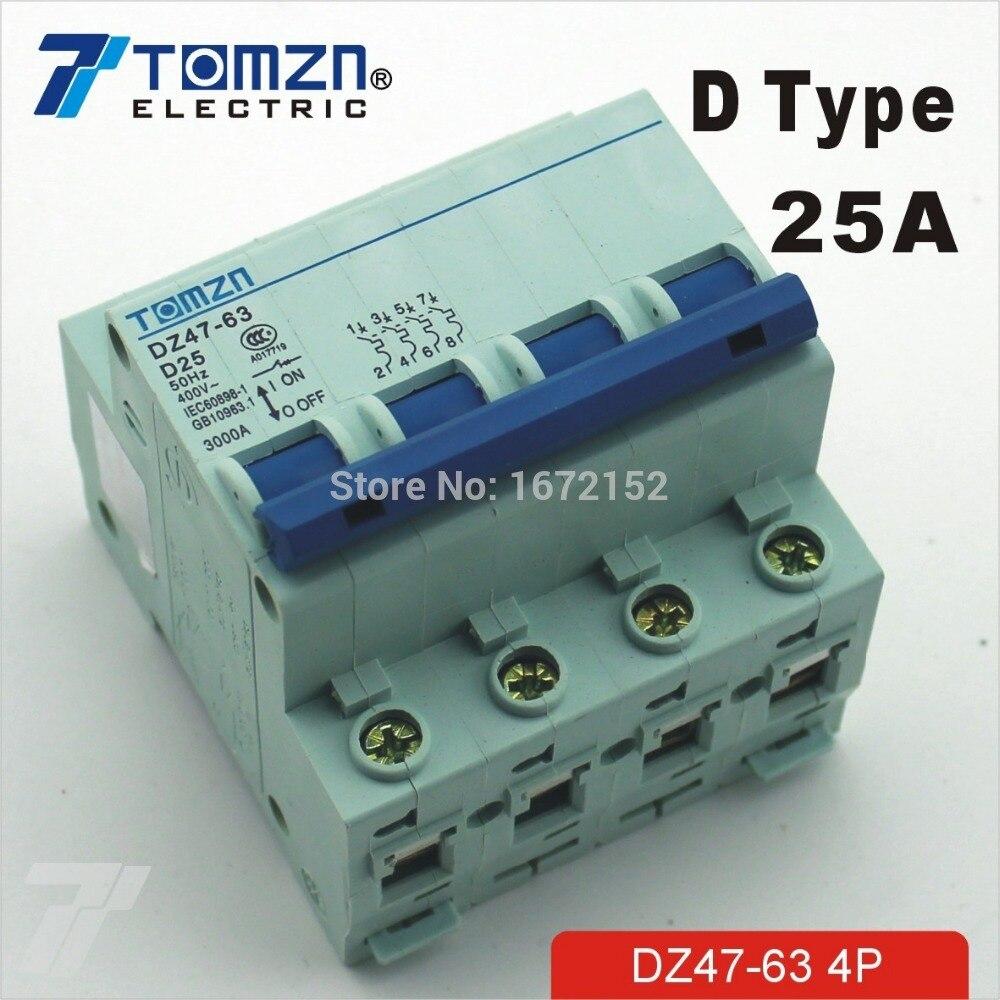 4P 25A 240V//415V Circuit breaker MCB C TYPE 4 Poles