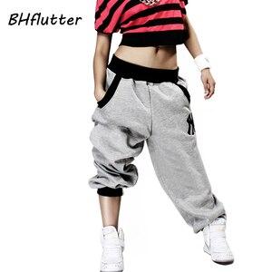 Image 1 - BHflutter パンツ女性プラスサイズのハーレムヒップホップパンツストリートハイウエストダンスパンツ 2018 冬長ズボン Pantalones