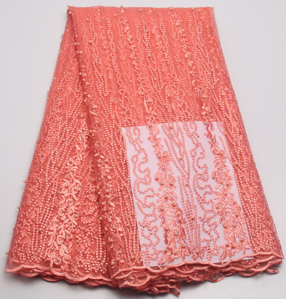 Hot sale peach beaded lace fabric beautiful african french for Fabric material for sale