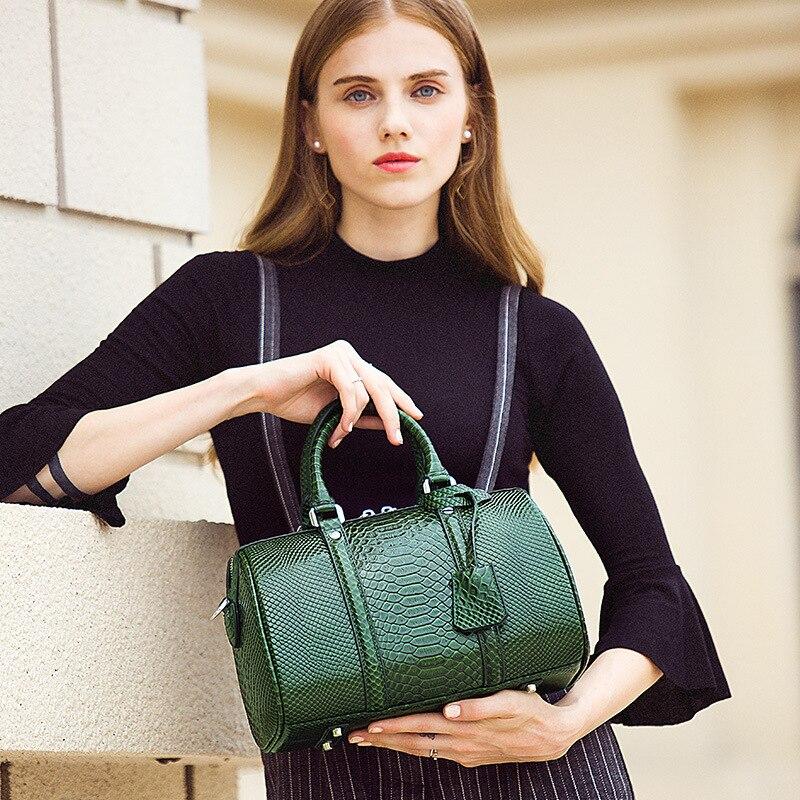 Genuine Leather Women Handbag Designer Serpentine Cowhide Shoulder Bag Women Crossbody Bag Ladies Tote Bag