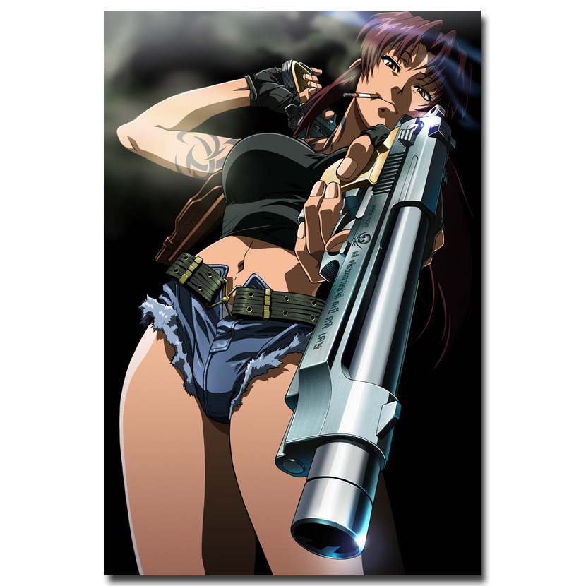 Nicoleshenting black lagoon revy two hand anime art silk for Living room 12x18