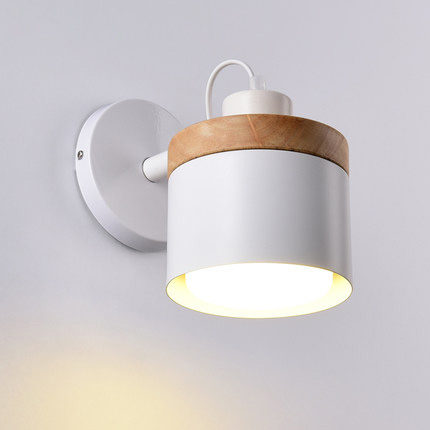 Fashion metal wall light simple nordic style indoor wall lights creative wood deco wall lamp studio