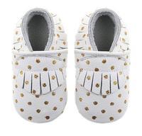 2018 yeni stil Hakiki Deri Bebek/Yürüyor altın polka dot ve bayraklar prewalkers bebek erkek ve kız Bebek Moccasins ayakkabı