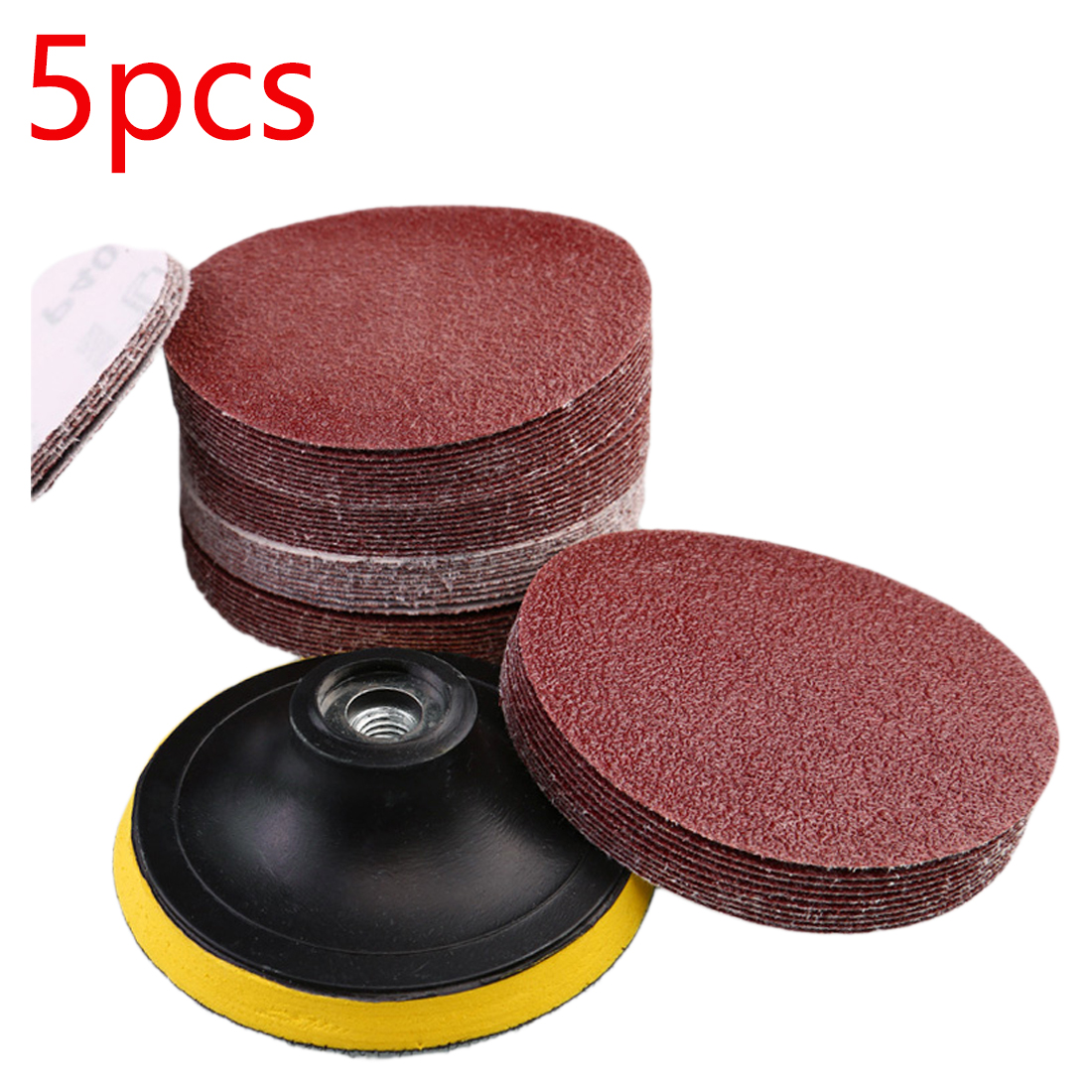 New 5pcs 125mm Red Circular Polishing Discs With Grits 80#-1000# Felt Wheel Polishing Sharpening Sand Paper Tool Accessories