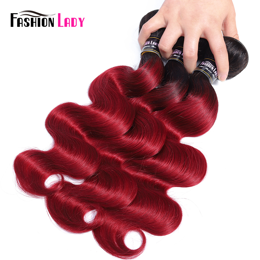 Fashion Lady Pre Colored 1B Burgundy Human Hair Weave 3 Bundles Red Ombre Brazilian Body Wave Hair With Lace Closure Non remy-in 3/4 Bundles with Closure from Hair Extensions & Wigs    3