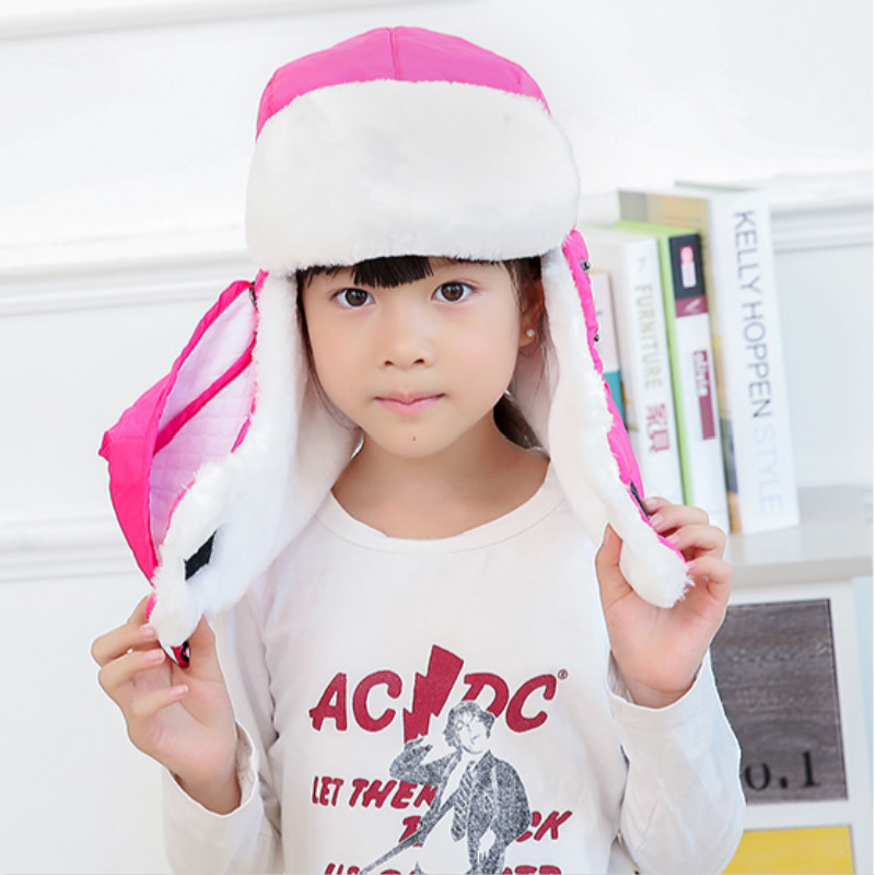 Которая в душе семья мех бомбер шляпа для женщин и мужчин ушные щитки Русская Шапка Детская уличная теплая утолщенная зимняя шапка с шарфом маска - Цвет: kids rose