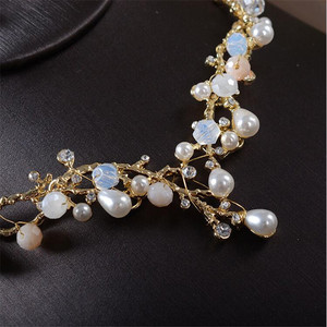 Image 4 - CC wedding Jewelry necklace stud earring sets party engagement accessories for bridal women pearl shine crystal luxury TL201