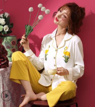 2019 Pajamas Sets Women Striped Soft Cotton Carton Fashion Women Long Sleeve Sleepwear Suit 2 Piece Sexy Spring Home Lounge