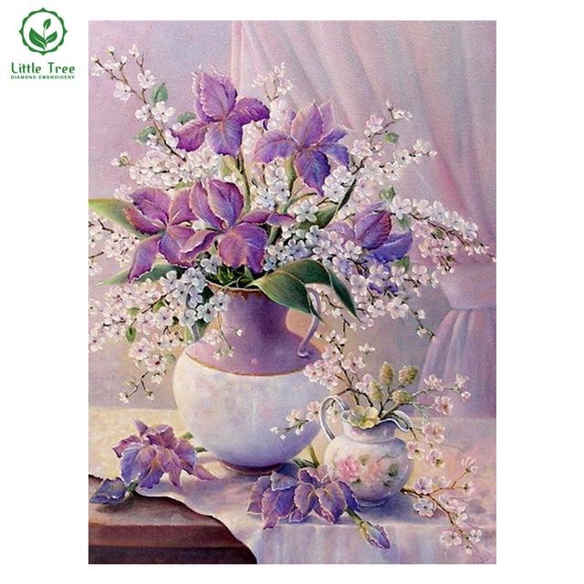 NEW 3D Diamond Painting full square drill Home decoration Cross Stitch Mosaic fabric Embroidery Kits rhinestones purple flower