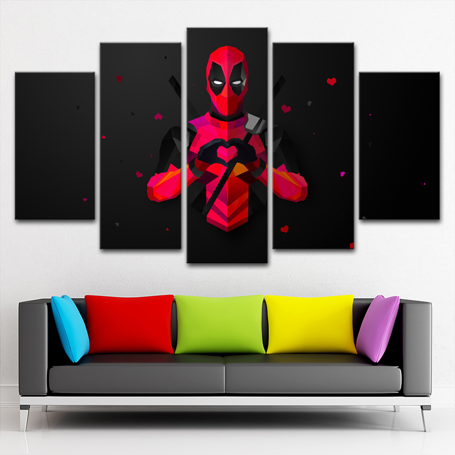 5 Pieces Modern Artwork Print Deadpool Pictures Canvas Home Decor Room Wall Movie Painting Wall Art HD Poster in Painting Calligraphy from Home Garden